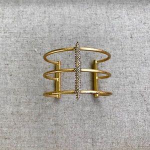 J.Crew crystal gold tone bar cuff